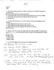 Macroeconomics 202 Quiz Keys for Quizzes 9-15