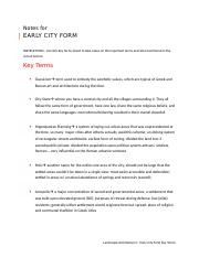 Key Terms for Module 3 - Early City Form