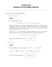 sample midterm 1: Solution