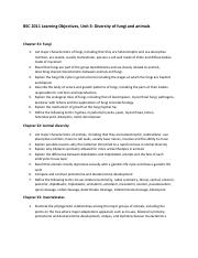 BSC 2011 Learning Objectives unit 3
