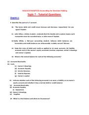 MAA103  MAAP103 Topic 7 - Tutorial Questions