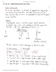 Optical Instruments and Vision Notes