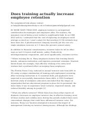 Does training actually increase employee retention