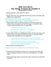 BIOL A111 - Chapter 8 - Key Things to Know - Cassey