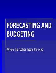Lesson XII- FORECASTING AND BUDGETING