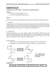 Lab 3 pdf - Experiment No 03 Application of OP-AMPs