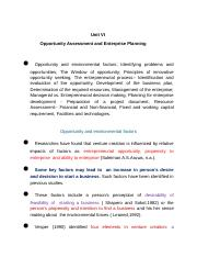 Unit VII-Opportunity Assessment and enterprise Planning (3)