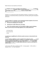 Market Structure Exam Questions with Answers