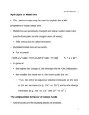 Hydrolysis of Metal Ions Lecture 10
