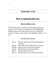 Case Analysis How to Analyze a Case F11
