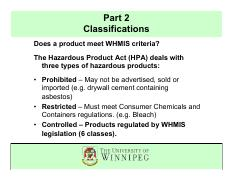 Part 2_WHMIS Classifications_WHMIS U of W July 2012