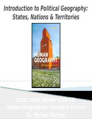GEOG 1HA3 - Winter 2017 - Lecture 20 - Political Geography I - Introduction to States Nations & Terr