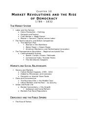 (Ch 10) Market Revolutions and the Rise of Democracy
