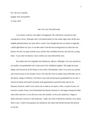 ENGL 1301 REVISED Personal Essay - The Last Time Came with Fate