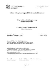 General Mathematics A EE1460  January 2011