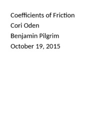 Coefficients of friction Lab Report 2.docx