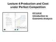 Lecture 4 Production and Cost under Perfect Competition