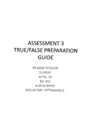TF Preparatory Guide Assessment 3 Spring 2011