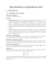 Introduction to hypothesis testing lecture notes outline