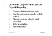 Intro to Finance - Chapter 6.1 Slides: Corporate Finance & Capital Budgeting