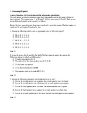 L&T Infotech Aptitude Exam-Reasoning Section Paper1
