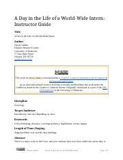 A Day in the Life of a World Wide Intern (Instructor Guide).docx