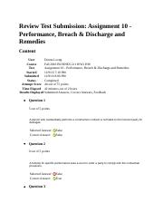 Review Test Submission Assignment 10 Performance Breach Discharge and Remedies.docx