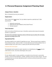 personal response essay assignment A personal response essay is a common college assignment, usually for a writing course for beginners a personal response essay is quite a short paper (1-4 pages long) in which a student has to analyze and express his/her opinion about a certain reading.