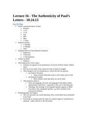 Rel 155 Lecture 16 - Authenticity of Paul's Letters