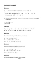 Worksheet Dot Product