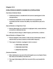 Chapter 17 2 docx (1) pdf - Chapter 17 2 EVOLUTION AS GENETIC CHANGE