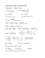 CH302  Exam 1 equations