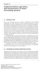8. Implementation, operation, and maintenance of water harvesting systems