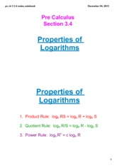 Properties of Logs Notes