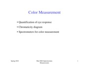 Lecture 12 Color measurement Spr2010