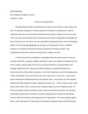 The Sun Also Rises Essay Rewrite