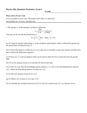 Sample Exam 1 Fall 2014 on Quantum Mechanics