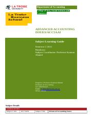 ACC5AAI_Sem 2 2015 Subject Learning Guide