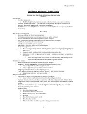 Buddhism Midterm 1 Study Guide