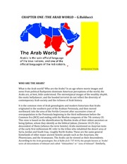 CHAPTER ONE THE ARAB  WORLD