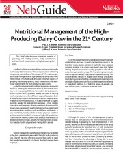 Nutritional Mgmt of the High Producing Dairy Cow-2