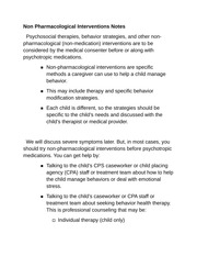 Non Pharmacological Interventions Notes