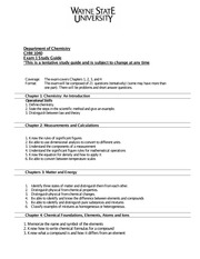 Exam I Study Guide CHM 1040 Fall 2014