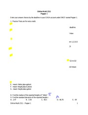 Practice Quiz 1 Solution on Statistics Spring 2015