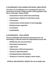 E GOVERNANCE CHALLENGES FOR RURAL AREA NOTES