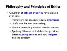 Lecture 3 Reading - summary of ethical theories