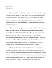Sample Apa Essay Paper  Pages Essay On The Movie Supersize Me Synthesis Example Essay also Global Warming Essay Thesis In The Film Supersize Me The Author Uses Many Examples Of Ethos One  English Sample Essays