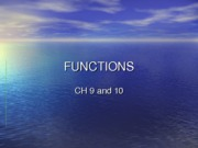 Chapter 10 Void Functions & CH09 summary
