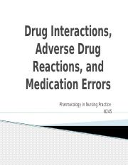 Drug Interaction, ADRS, and Med Errors (chapters 6 and 7)