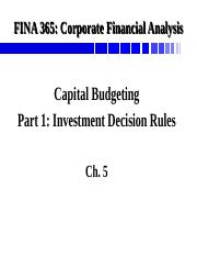 FINA 365 Investment Decision Rules Full